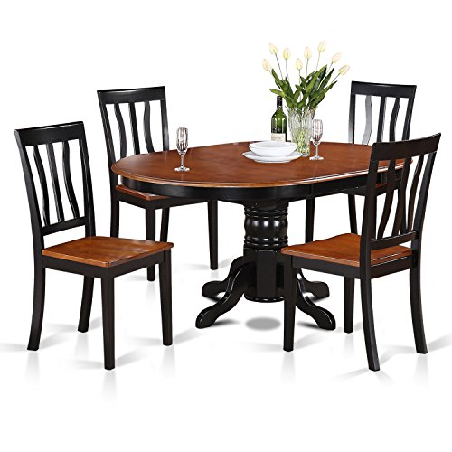 East West Furniture AVAT5-BLK-W 5-Piece Dining Table Set