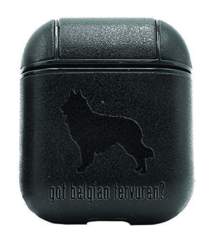 Animal GOT Belgian Tervuren Dog (Vintage Black) Air Pods Protective Leather Case Cover - a New Class of Luxury to Your AirPods - Premium PU Leather and Handmade exquisitely by Master Craftsmen