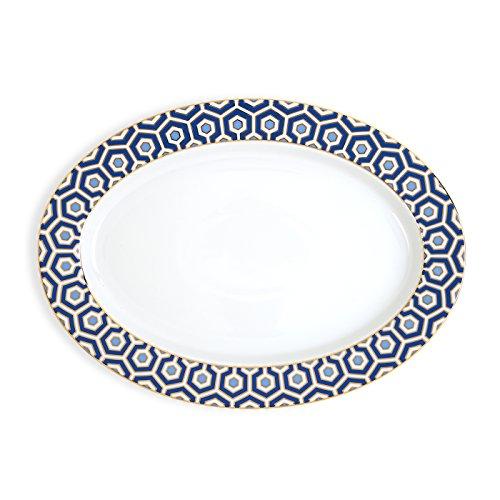 Jonathan Adler 21974 Newport Oval Platter, Blue by Jonathan Adler