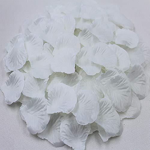 zimeng 3000Pcs Artificial Silk Rose Petals Decoration Wedding Party Celebrations(White)