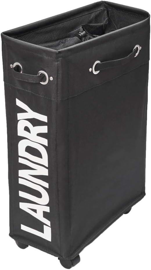 comfortez Slim Rolling Laundry Hamper Foldable Laundry Basket with Handle on Wheels (Black)…