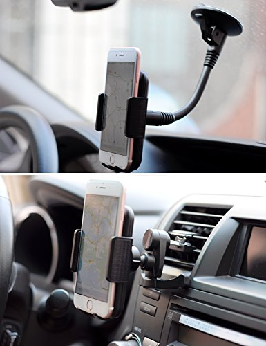 iPhone Car Mount ITART Cell Phone 2 in 1 GPS Holder Windshield Suction Cup and Air Vent Clip Universal Black Mobile Phone Cradle for Car Samsung