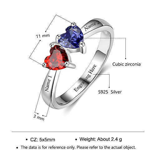 Love Jewelry Personalized Mother Rings with 2 Heart Simulated Birthstones Custom Engagement Ring Promise Rings for Her (7) by Love Jewelry (Image #2)