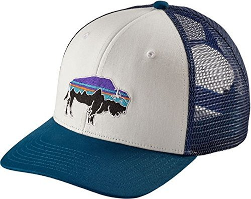 Roy Bison Trucker Hat (One Size Fits All, White/Big Sur Blue) (Patagonia Sun Hat)