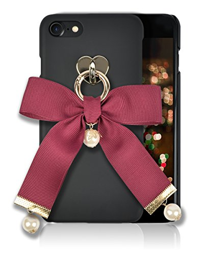 iphone 8 / 7 Fashion Case [HandMade Stripe Ribbon Series] Silky SF Coating Hard PC [Detachable Ring, Ivory Faux Pearl] Ultra Slim, Light Weight, Apple iphone 7/8 Cover (Wine)