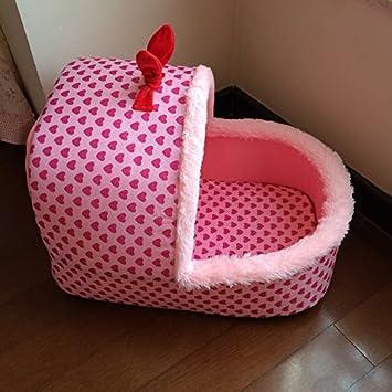 Pet Online Cama estilo Pet cute durazno rosa algodón corazón zapatillas tipo cuna four seasons cálida