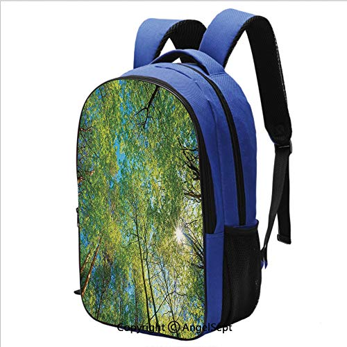 School Backpack Evergreen Back Nature Area Mother Earth Lime Trunk Mangrove Flora Willow Decor College Laptop Bookbag Travel Daypack,Green