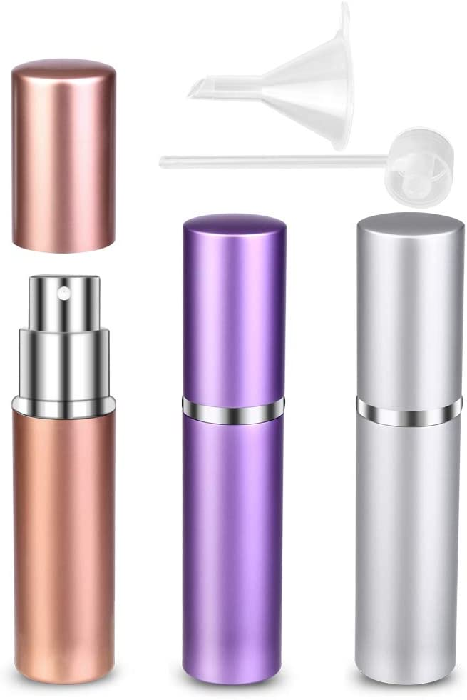 Atomizador Perfume Recargable, 6ml Mini dispensadores portátiles de la Botella Pulverizador Perfume para Perfume & Aftershave para Viaje Bolso con Mini Embudo y Pipeta