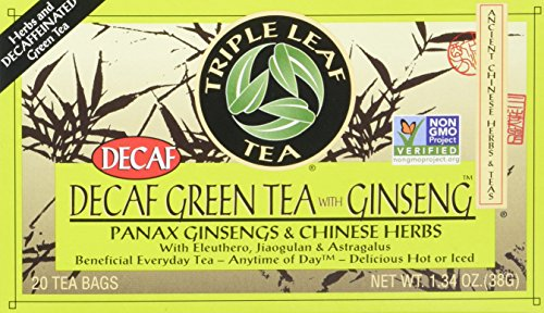 (Triple Leaf Tea, Decaf Green Tea with Ginseng, 20 Tea Bags (Pack of 6))