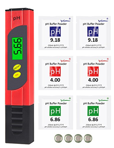PH Meter, MrLi PH Pen PH Tester Pen High Accuracy 0.01 Resolution Digital PH Meter PH Measuring Range Digital Water Quality Tester for Aquarium Pool Laboratory Urine Plus 6 Calibration Powder Red