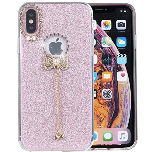 iPhone Xs Max Case, iYCK 3D Handmade Cute Luxury Diamond Hybrid Glitter Bling Shiny TPU Soft Rubber Case Cover with Sparkly Bow Knot Crystal Pendent Charms for iPhone Xs Max 6.5inch - Pink