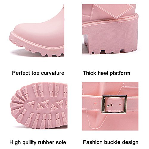 Elastic Womens Colors Adjust Girls for Boots Rain DKSUKO with Boots Motorcycle Pink Waterproof 6 TI8dA6