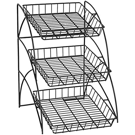 Space Saving Black Wire Rack With 3 Display Shelves Countertop Tiered Open Shelf Design 14 3 4 X 22 1 2 X 17 3 4 Inch