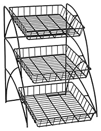 Space Saving Black Wire Rack With 3 Display Shelves, Countertop, Tiered, Open Shelf Design, 14-3/4 x 22-1/2 x 17-3/4-Inch
