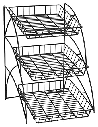 Amazon Com Space Saving Black Wire Rack With 3 Display Shelves