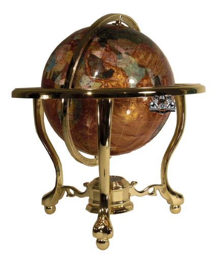 Unique Art 13-Inch Tall Table Top Amberllite Pearl Gold Stand Gemstone World Globe with Gold Tripod -