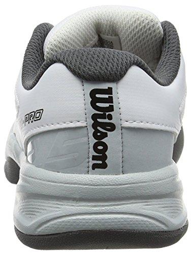 Wilson Rush Pro Jr 2.5 Carpet Wh/Pearl Blue/b 2, Scarpe da Tennis Unisex-Bambini, Bianco (White/Pearl Blue/Black), 34 2/3 EU