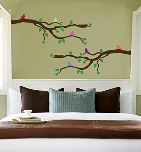 Branch With Multi-Colored Birds Repositional Wall Decal