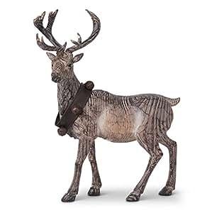 K&K Interiors Carved Resin Standing Reindeer w/Bell Collar w