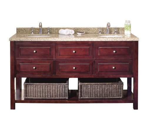 Ove Decors Danny 60 Bathroom Double Vanity with Brown Peppered Granite Countertop and Two Undermount Ceramic Basins, Warm Chocolate, -