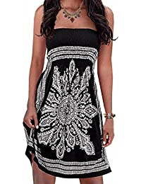 Inital Women's Strapleess Floral Print Bohemian Beach Dress Cover-up Dress
