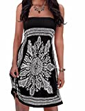 Initial Women's Coverup Dress Bohemian Beach Dress Strapleess Floral Print Cover-up Dress, Black2, Medium