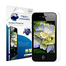Tech Armor Apple iPhone 4 and 4S Premium HD Clear Screen Protector with Lifetime Replacement Warranty [3-Pack] - Retail Packaging