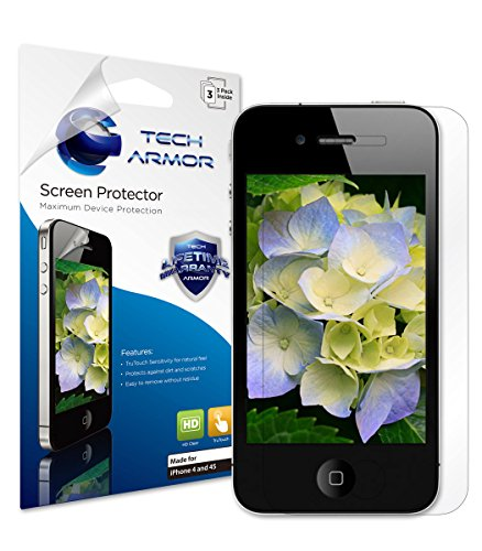 Tech Armor High Definition HD-Clear Film Screen Protector (Not Glass) for Apple iPhone 4 / 4S [3-Pack]