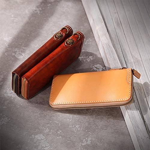XIAOF-FEN New Handmade Leather Wallet Retro Copper Lion Mens Wallet Snow Lion Wallet Long Vegetable Tanned Leather Wallet Men Bags Color : Coffee, Size : S