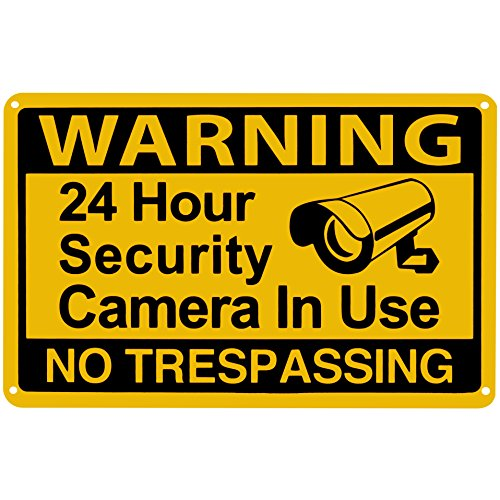 Mysignboards 24 Hour Yellow Video Surveillance Warning cctv signs security cameras in use sign