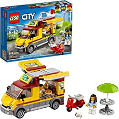 Make and serve some pizza for your customers with the LEGO city pizza van, featuring a van with opening sides and kitchen space in the back, a scooter and a buildable table with parasol. This cool toy for kids also includes 2 minifigures.