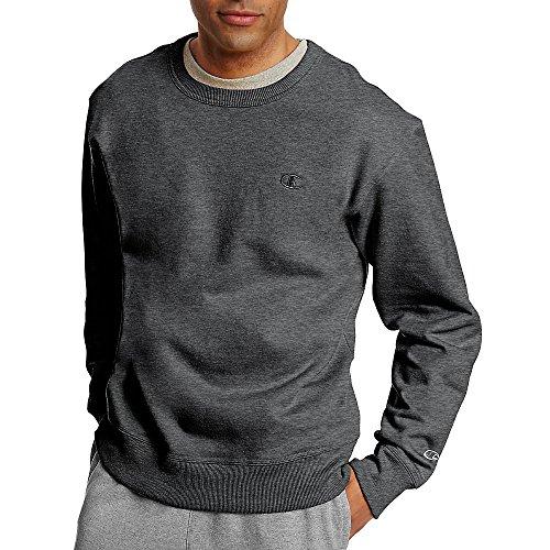 Champion Men's Powerblend Fleece Pullover Sweatshirt_Granite Heather_M