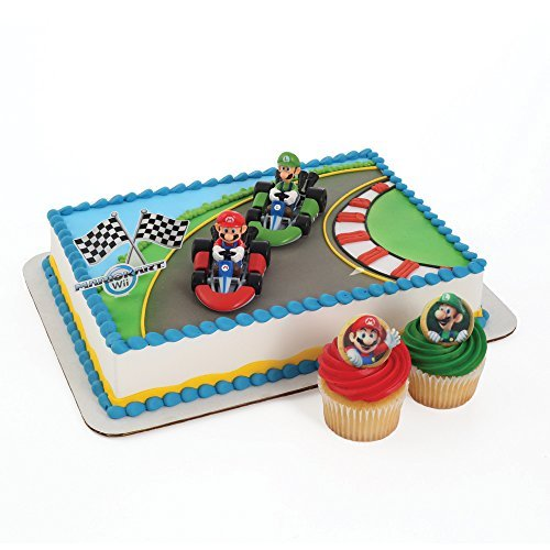 Super Mario Cake Topper and 24 Cupcake Topper Rings by Bakery Crafts
