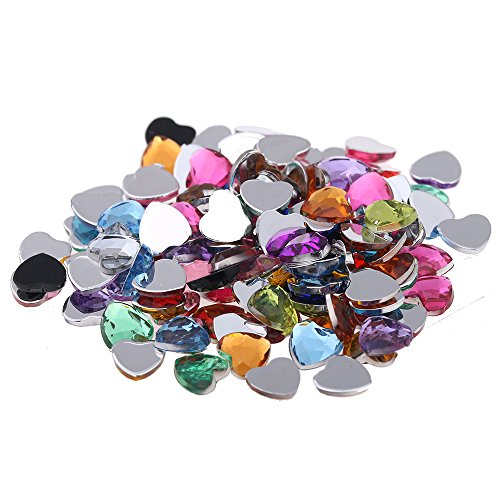 Nizi 3mm 1000pcs Mixed Colors Heart Shape Acrylic Rhinestones Flatback Flat Faceted Strass Gems 3D Nail Art Decorations