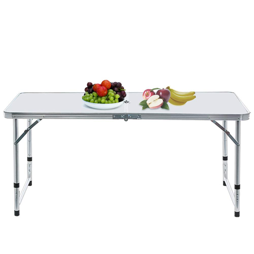 Ljnuanrg Portable Foldable Lightweight Camping Table,4-Person Adjustable Folding Aluminum Picnic Party Dining Desk Indoor/Outdoor + Umbrella Hole + 4Pcs Stools (White)
