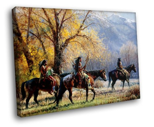 H5D6400 Native American Warriors Horses Art Indians 20x16 FRAMED CANVAS PRINT