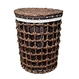 WEIYV-Laundry Hampers Sorter Basket Laundry Basket Hand-Knitted Covered Clothes Storage Storage Basket Rattan Brown Allegory (Size : 44cm54cm)