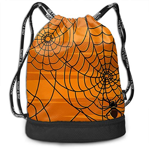 Unisex Multifunctional Bundle Backpack Portable Shoulder Bags Travel Sport Gym Bag - Yoga Runner Daypack Shoe Bags - Scary Halloween Spiders Graphics Print Drawstring Backpack -