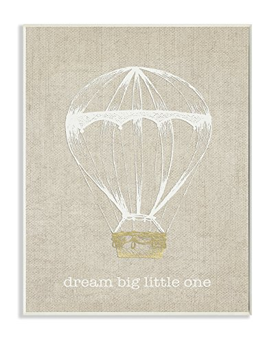 Stupell Home Décor Dream Big Little One Hot Air Balloon Wall Plaque Art, 10 x 0.5 x 15, Proudly Made in USA (Dream Fine Art)
