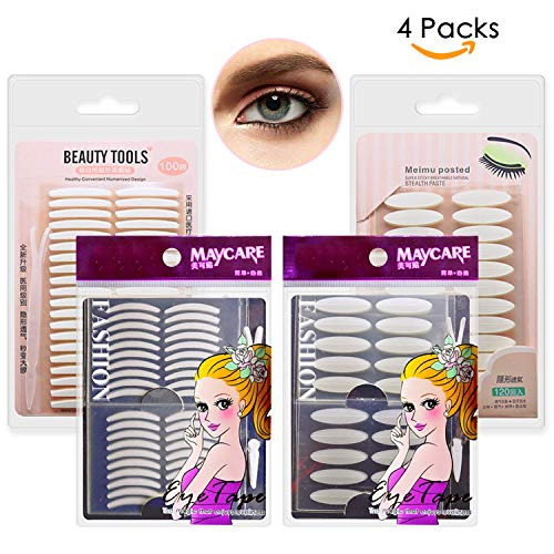 4 Packs Natural Invisible Single/Double Side Eyelid Tapes Stickers, Medical-use Fiber Eyelid Strips, Instant lift Eye Lid Without Surgery, Perfect for Hooded, Droopy, Uneven, Mono-eyelids (Lift Eyelid Surgery)