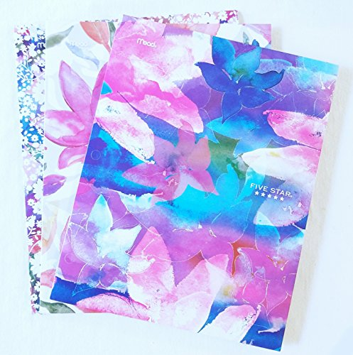 Mead Five Star Watercolor Floral Portfolio Folder (3 Pack)