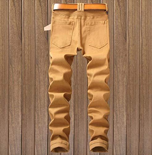 Da Slim 29 Stretch color Regular Midi Dritti Cinturino Size Senza Uomo Jeans 10 Estilo Pantaloni Skinny Fit Especial Di g5wgU