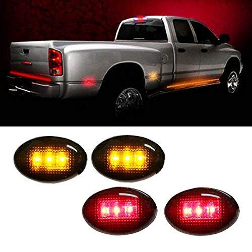 iJDMTOY Smoked Lens Amber/Red LED Rear Bed Side Marker Lights Set For Chevrolet Silverado GMC Sierra 2500 3500 HD Dually Truck Double Wheel Side Fenders