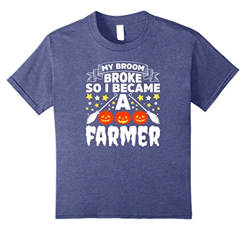 Kids Farmer Halloween Costume Shirt My Broom Broke Costume Outfit 12 Heather Blue