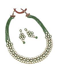 Aheli Wedding Wear Indian Kundan Beaded Necklace Earring Set Ethnic Traditional Jewelry for Women