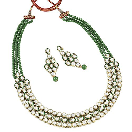 Aheli Fancy Party Wear Kundan Beaded Necklace Bollywood Festive Jewelry Set with Earrings for Women Teen Girls (Kundan Jewelry)