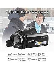 كاميرا كاميرا فيديو رقمية فل اتش دي V-201LM 1080P مسجل DV مسجل 24MP 16X تقريب رقمي 3.0 بوصة شاشة LCD مع بطاريتين قابلة لإعادة الشحن من Honorall Bundle 3 LMZHONORALLD6946-3SA