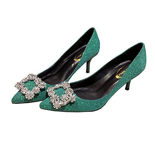 Bleu l'Europe Unis profondes peu chaussures avec bleu 6 Couleur des hauts 36 Vert taille strass talons partie pointé les vertes et femmes 5cm boucle les sexy strass États f5R1SqX1