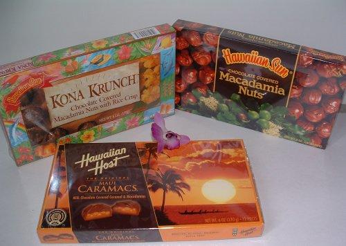 Hawaiian Chocolate Variety Pack: Maui Caramacs, Kona Krunch and Chocolate Covered Macadamia Nuts (6 Boxes Total)