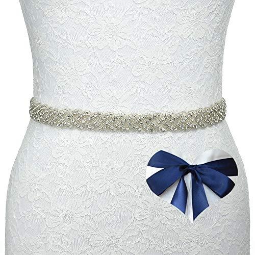 KunLai Navy Bridal Belt Bridal Sashes Wedding Dress Sash Rhinestone Belt for Women Evening Dresses